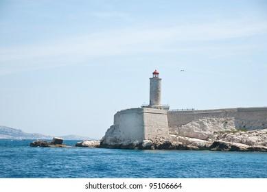 The lighthouse on an island near the Chateau d'If, Marseilles, France