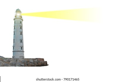 Lighthouse on island with searchlight beam through air isolated on white background