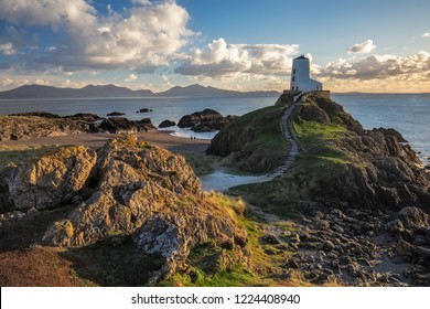 Lighthouse on Llanddwyn Island on the coast of Anglesey in north Wale, Uk.