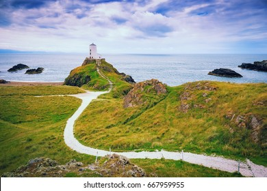 Lighthouse on Llanddwyn Island on the coast of Anglesey in north Wale,Uk.