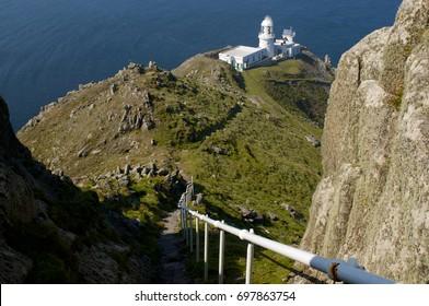 Lighthouse on Lundy Island UK.