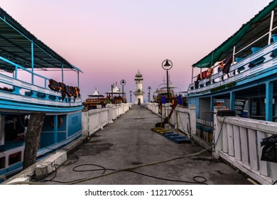 Lighthouse on the pier of Koh Chang in the sunset, Koh Chang