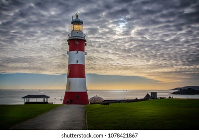 Lighthouse on Plymouth Hoe at sunset taken at Plymouth, Devon, UK on 13 November 2017