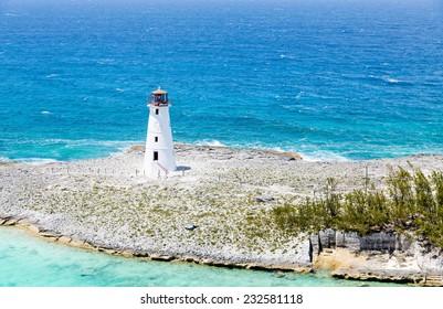 Lighthouse on Point of land near Nassau on Grand Bahamas