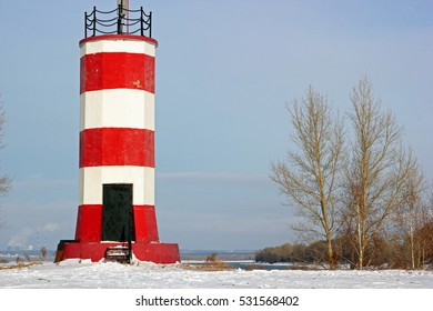 Lighthouse on the river Ob in winter. Novosibirsk, Russia