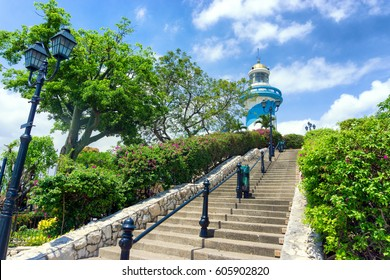 Lighthouse on Santa Ana Hill in Guayaquil, Ecuador