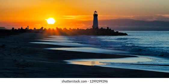 Lighthouse on Santa Cruz Shore
