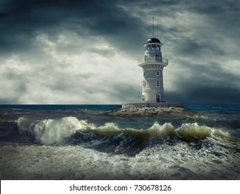 Lighthouse on the sea under sky.