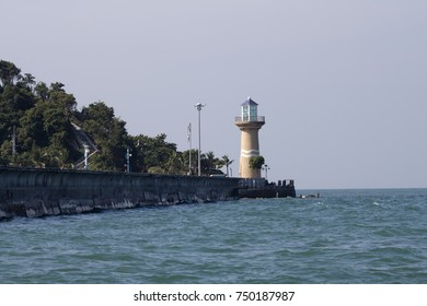 Lighthouse on the shore of the Gulf of Thailand. Pattaya. Thailand. Pacific Ocean.