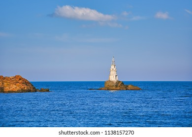 Lighthouse on Small Island in the Black Sea