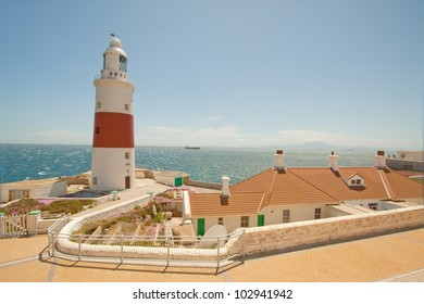 Lighthouse on the southern tip of Gibraltar overlooking the mediterranean sea