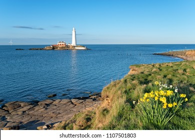 The lighthouse on St Mary's Island at Whitely Bay on the Northumberland coast.