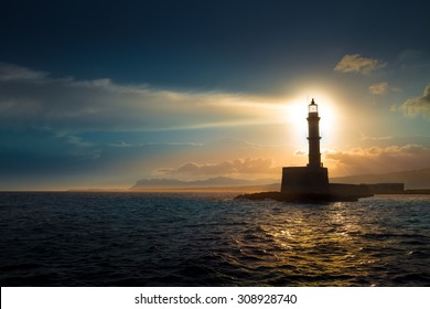 Lighthouse on sunset.