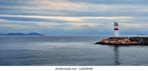 Lighthouse on sunset on the Bosphorus