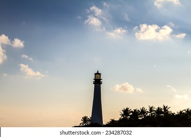 Lighthouse on sunset at the Florida State Park, Key Biscayne, Miami, United States
