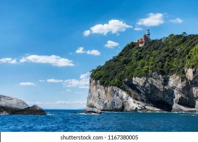 lighthouse on Tino island, located on La Spezia Gulf near Portovenere and Cinque Terre, Italy