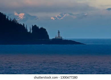 Lighthouse on the tip of the land near the port of Ketchikan, Alaska