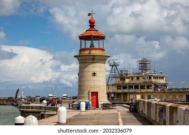 The lighthouse on the West harbour arm, designed by John Shaw Jr. 2020 09 August 2021 Ramsgate United Kingdom.