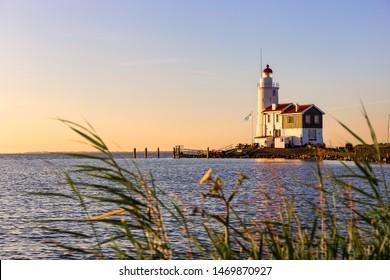 The lighthouse Paard van Marken on the dutch peninsula Marken on the Ijsselmeer. It was built in 1839.
