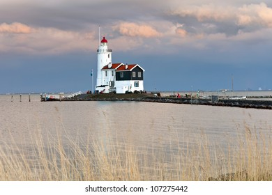Lighthouse Paard van Marken at sunset, North Holland, Netherlands