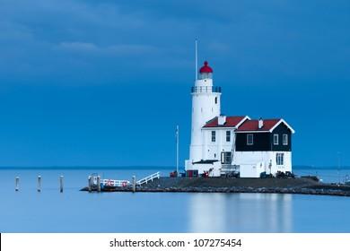 Lighthouse Paard van Marken at twilight, North Holland, Netherlands