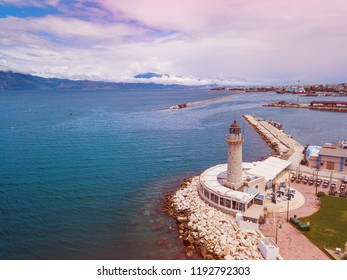 Lighthouse in Patras. Aerial drone photo of famous town and port of Patras, Achaia, Peloponnese, Greece