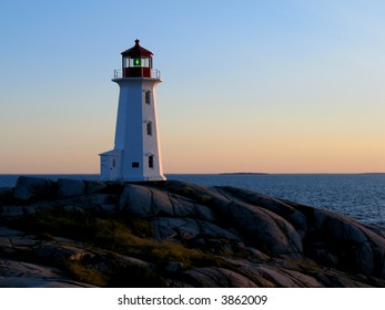 Lighthouse at Peggy's Cove Nova Scotia at dusk
