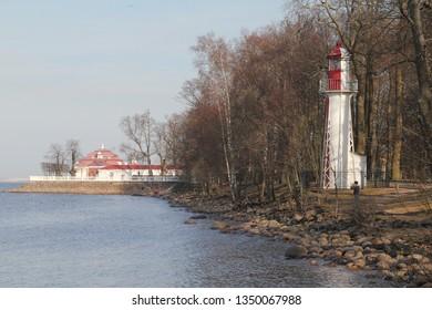 lighthouse in Petergof near Sankt-Peterburg in early spring