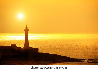 "Lighthouse ""Phare de Rabat"" on sunset background, Kasbah of the Udayas, Rabat,  Morocco, North Africa. UNESCO world heritage site"