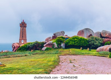 Lighthouse of Ploumanach Mean Ruz in Perros-Guirec on Pink Granite Coast, Brittany (Bretagne), France