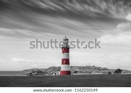 Lighthouse in Plymouth, England, UK. Selective Coloring