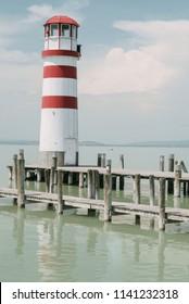 Lighthouse in Podersdorf am See, lake Neusiedler See, Burgenland, Austria