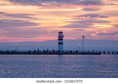 Lighthouse in Podersdorf am See at winter sunset, lake Neusiedler See, Burgenland, Austria
