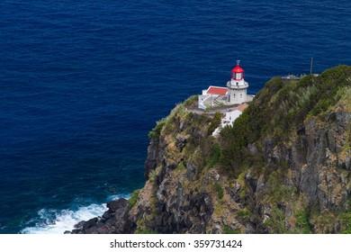 Lighthouse Ponta do Arnel in Sao Miguel island Azores