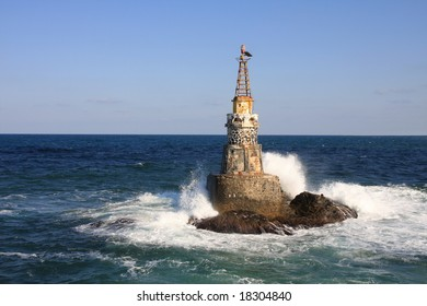 The lighthouse in the port of Ahtopol, Bulgaria.