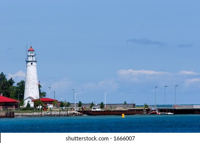 Lighthouse at Port Huron, Michigan as seen from the Canadian side of the mouth of the St. Clair River. Copy space provided.