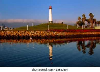 Lighthouse in the port of Long Beach, California. Typical architectural style of the area.