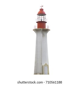 Lighthouse with red top isolated on white background