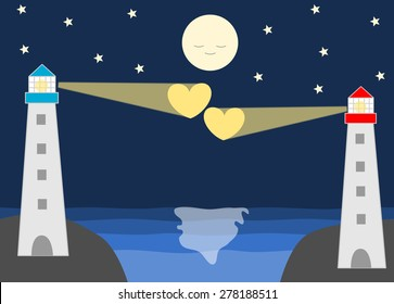 lighthouse in a romantic scene about distance love cartoon illustration