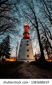 lighthouse in Rozewie, during sunset