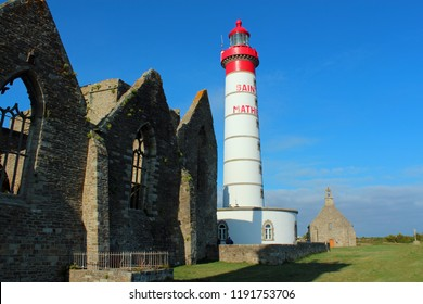 lighthouse and ruins of an old monastery, Pointe Saint-Mathieu, Brittany, France
