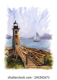 Lighthouse Sailboat Rocks Torn Edges