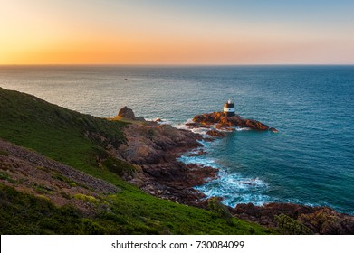 Lighthouse of Saint Brelade, Jersey, Channel Islands, UK at sunrise
