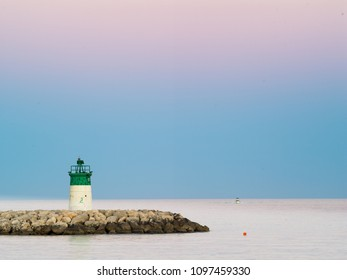 Lighthouse of saint laurent du var.Mediterranean landscape. French riviera, France.Copyspace to add text or title