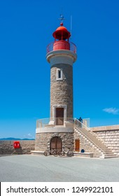 Lighthouse in Saint-Tropez in the Department Var of the province Provence-Alpes-Cote d Azur
