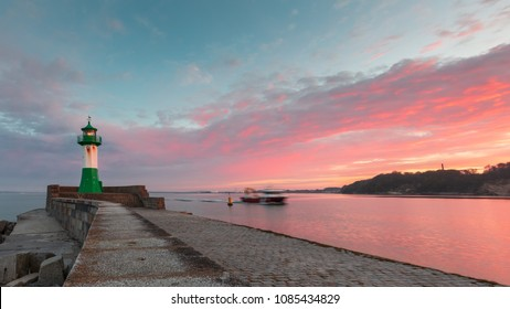 Lighthouse in Sassnitz at the Island of Ruegen on a beautiful sunset