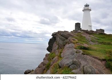 Lighthouse scene in coastal Newfoundland, St John's, Canada in autumn