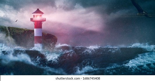 Lighthouse sea waves rain storm