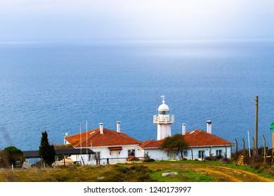 Lighthouse and seascape. Yalova, Turkey.
