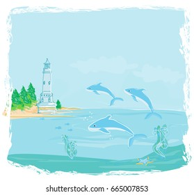 Lighthouse seen from a tiny beach and dolphins